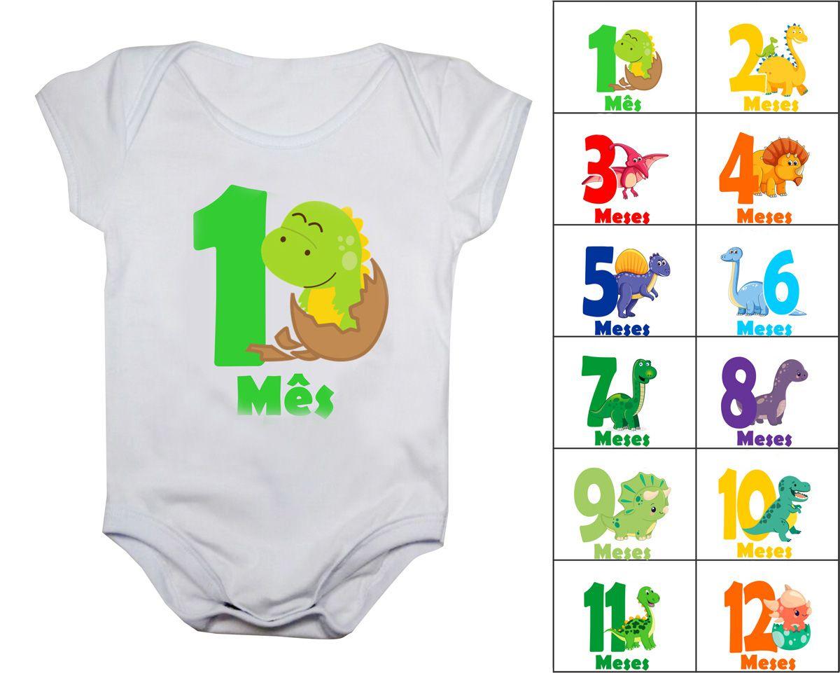 Kit 12 bodies de bebê mesversario dinossauros