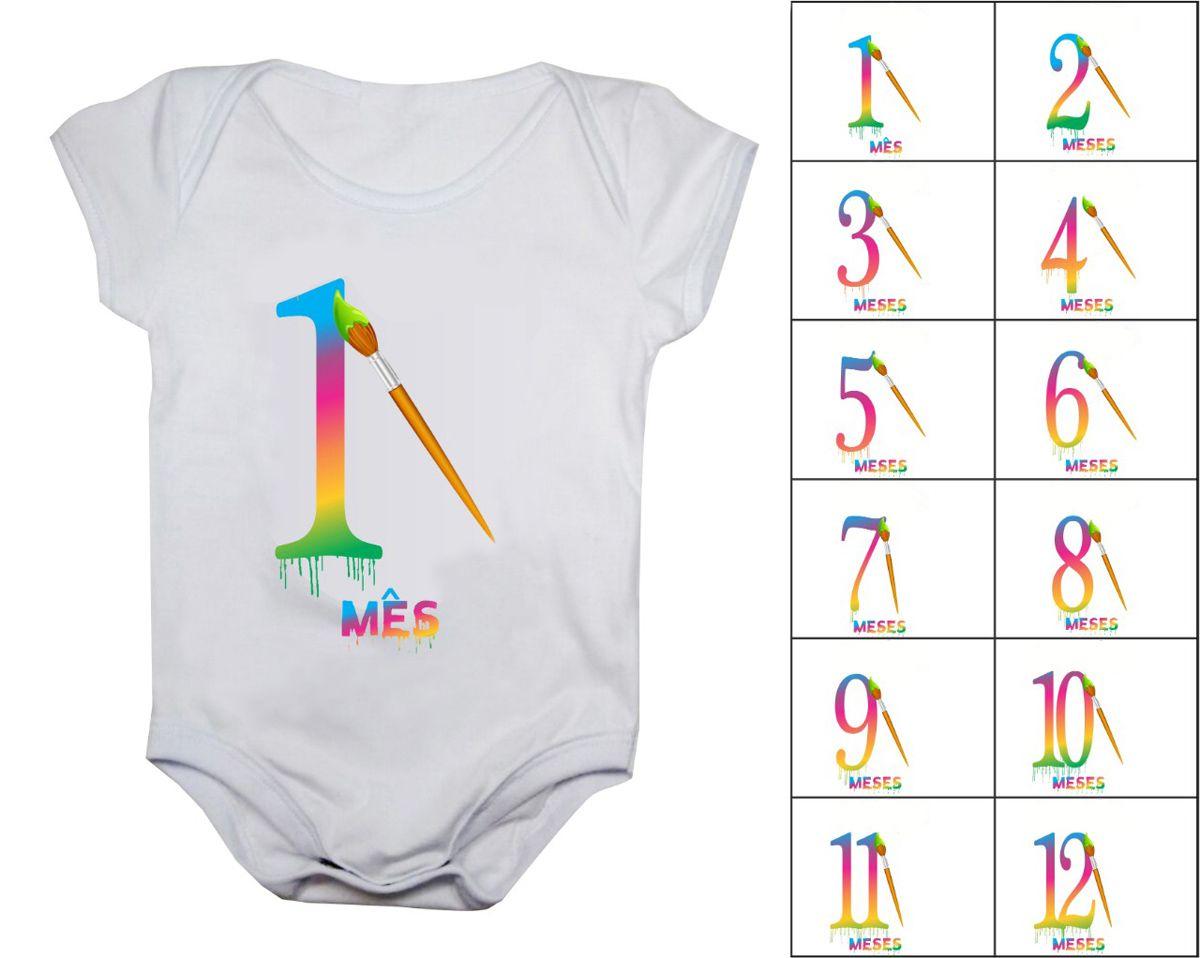 Kit 12 bodys de bebê mesversario aquarela