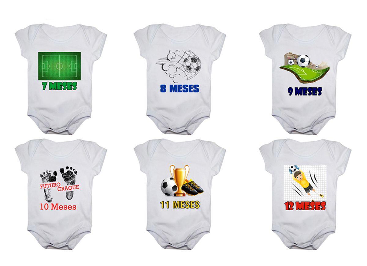 Kit body bebê mesversario manga curta estampa futebol 12 bodies 1 a 12 meses