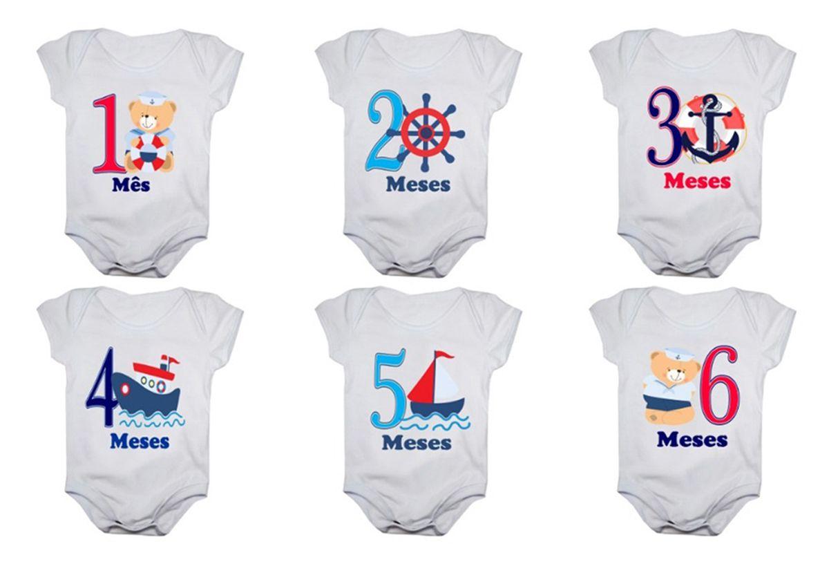 Kit body bebê mesversario manga curta estampa marinheiro 12 bodies 1 a 12 meses