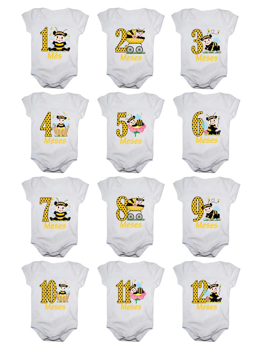 Kit Body Bebê Mesversario Manga Curta Estampa Abelhinhas 12 Bodies 1 a 12 Meses