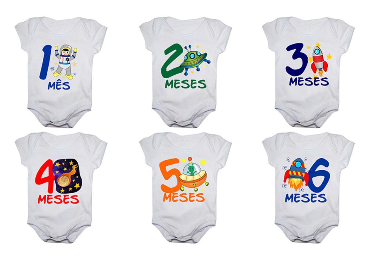 Kit body bebê mesversario manga curta estampa astronauta 12 bodies 1 a 12 meses