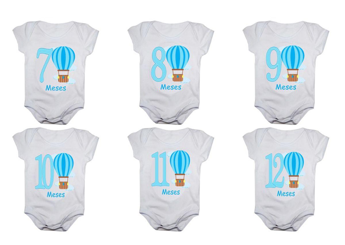 Kit body bebê mesversario manga curta estampa balões 12 bodies 1 a 12 meses