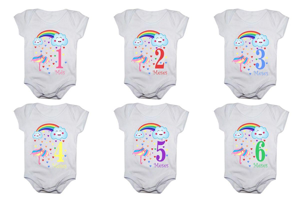 Kit body bebê mesversario manga curta estampa chuva de benção 12 bodies 1 a 12 meses