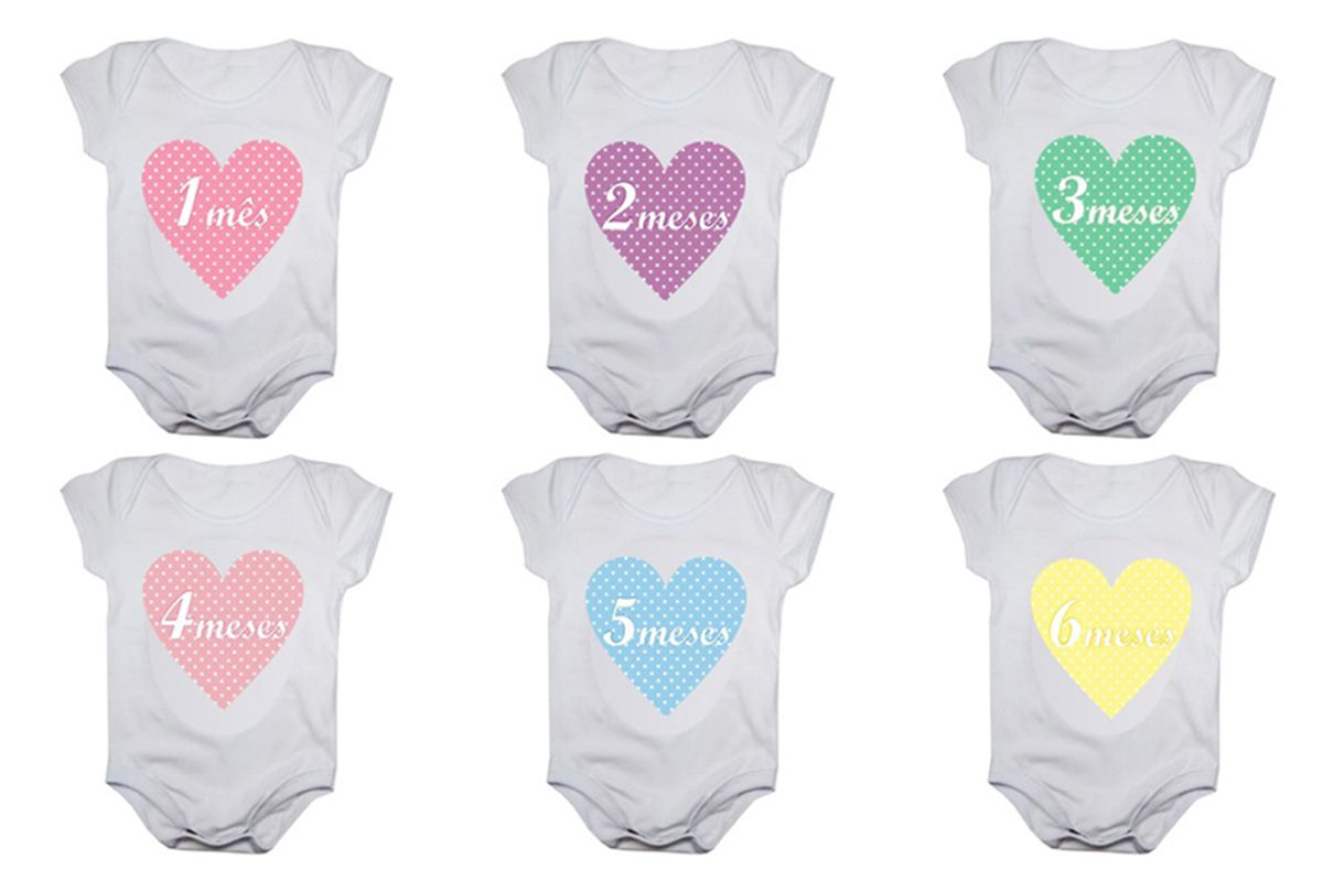 Kit body bebê mesversario manga curta estampa corações 12 bodies 1 a 12 meses