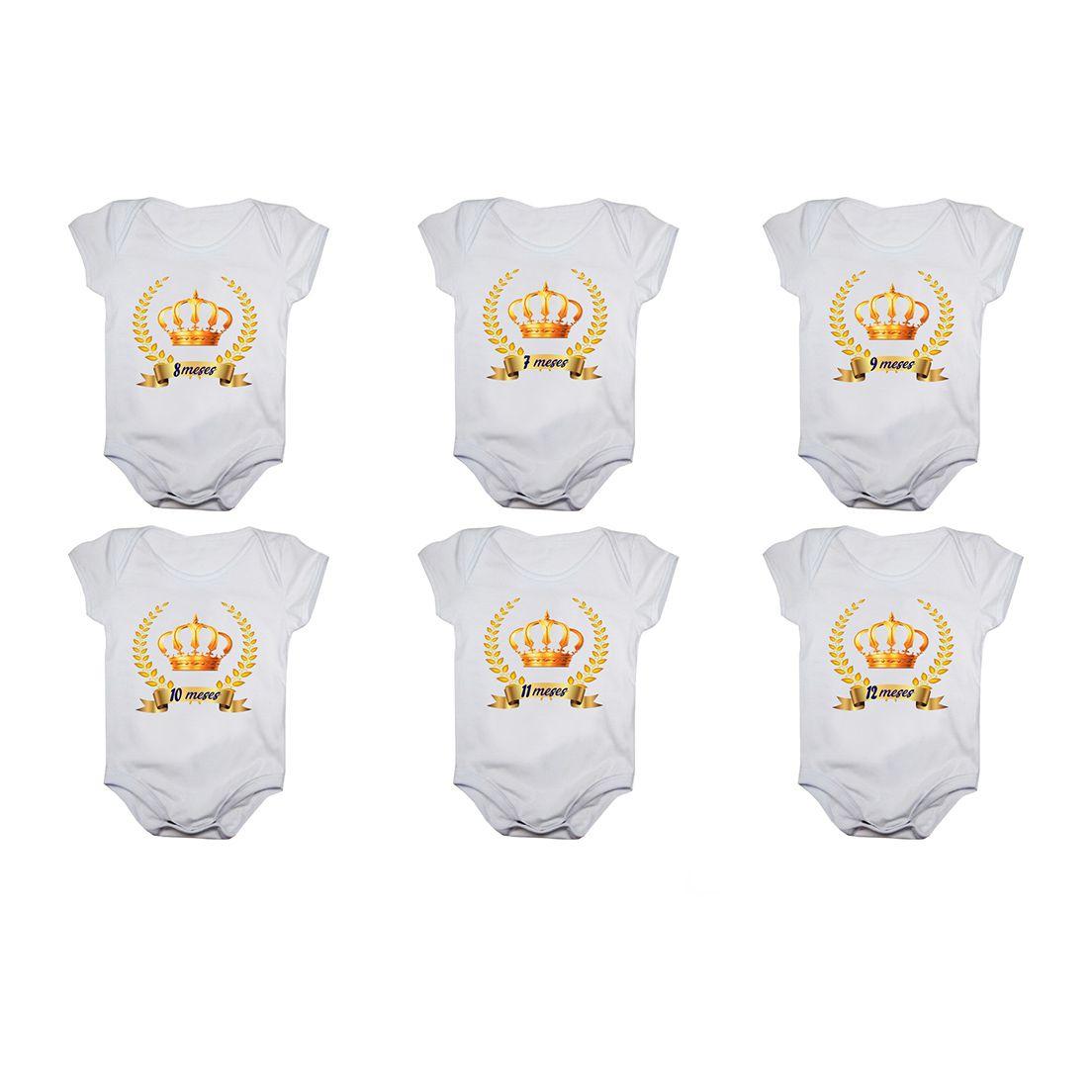 Kit body bebê mesversario manga curta estampa coroa príncipe 12 bodies 1 a 12 meses
