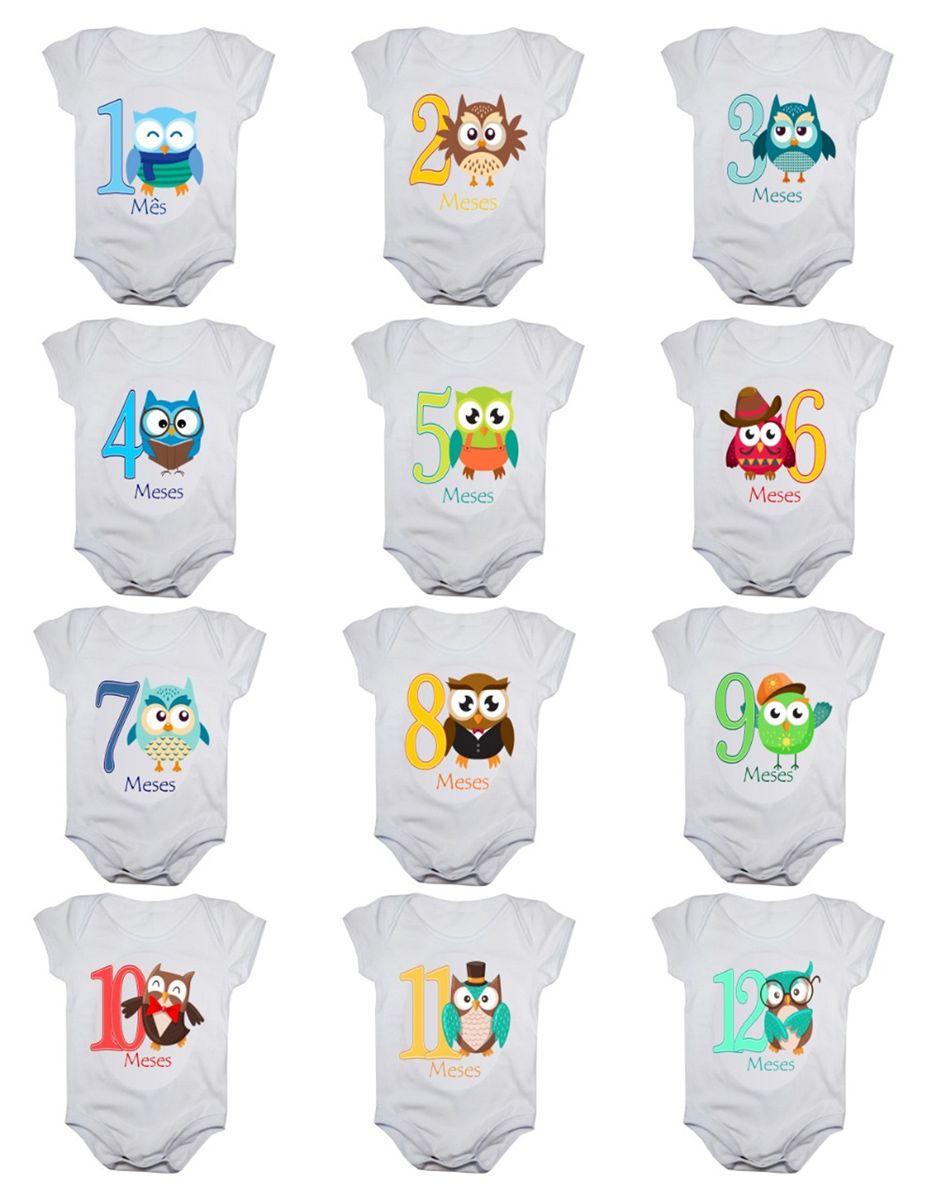 Kit body bebê mesversario manga curta estampa corujinhas 12 bodies 1 a 12 meses