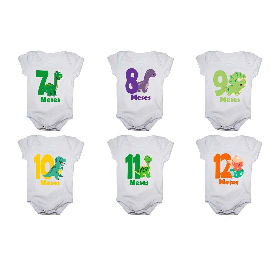 Kit body bebê mesversario manga curta estampa dinossauros 12 bodies 1 a 12 meses