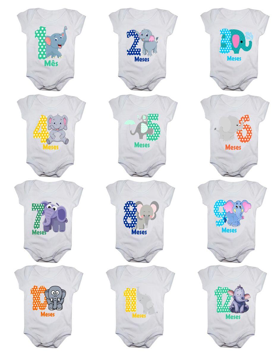 Kit body bebê mesversario manga curta estampa elefantinhos 12 bodies 1 a 12 meses