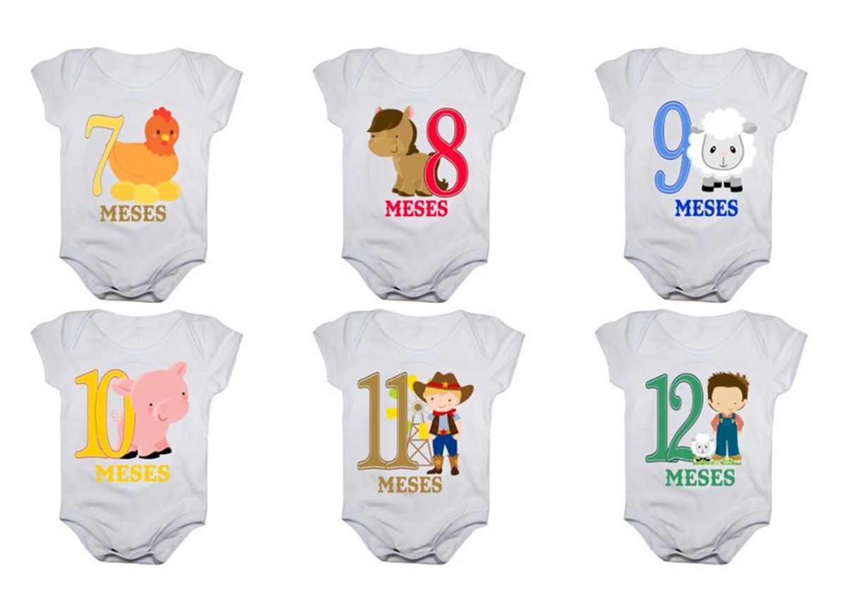 Kit body bebê mesversario manga curta estampa fazendinha 12 bodies 1 a 12 meses