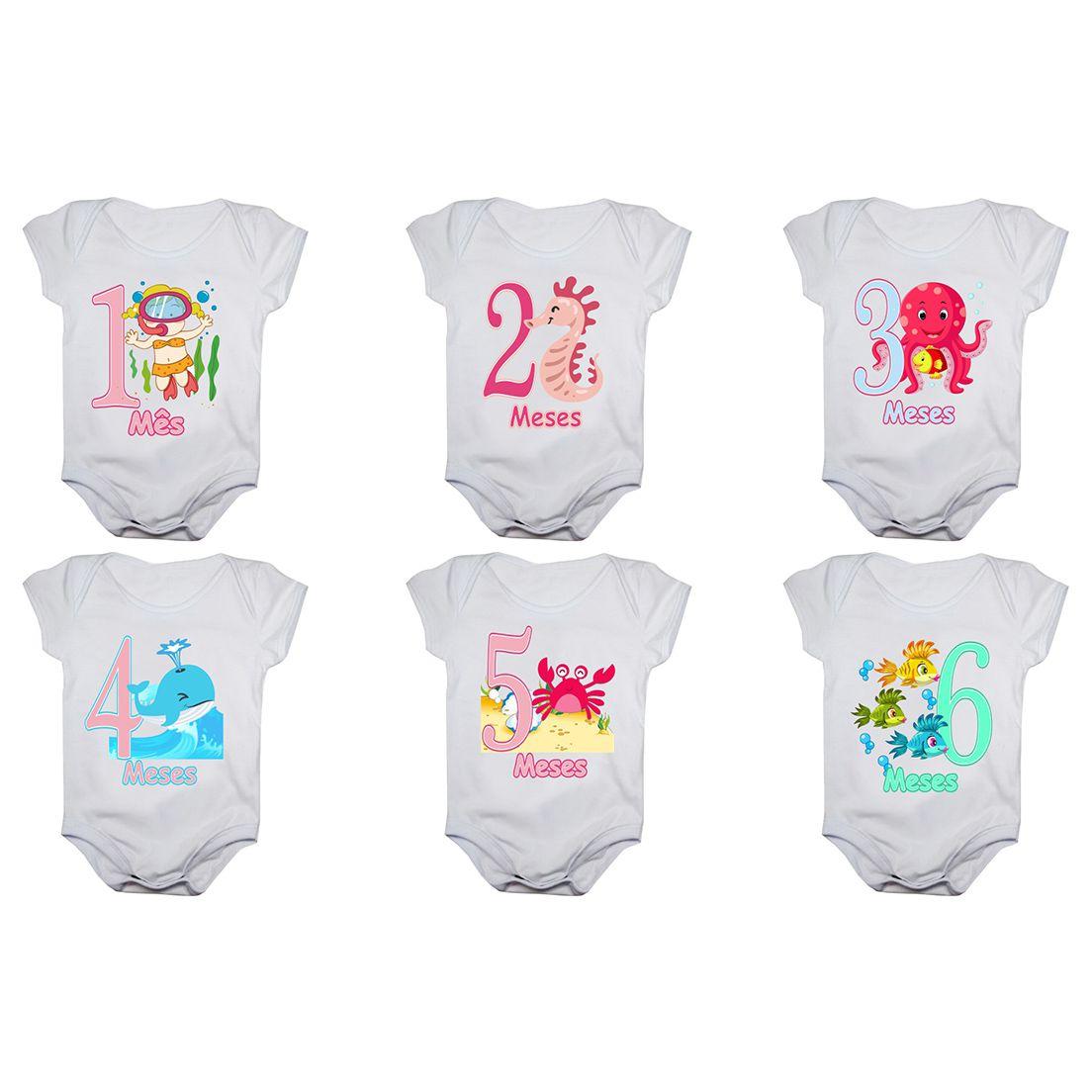Kit body bebê mesversario manga curta estampa fundo do mar 12 bodies 1 a 12 meses