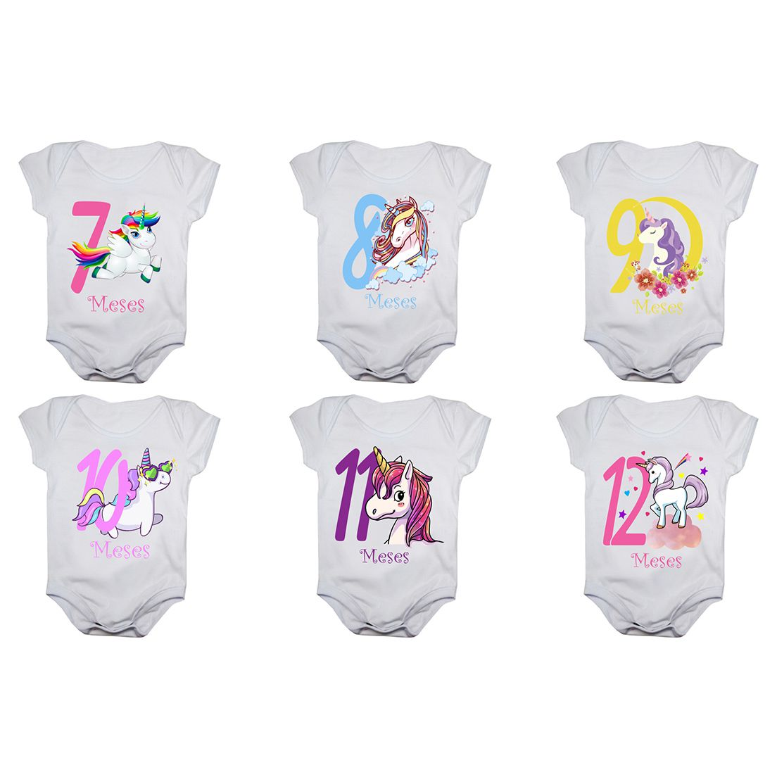 Kit body bebê mesversario manga curta estampa unicórnio 12 bodies 1 a 12 meses