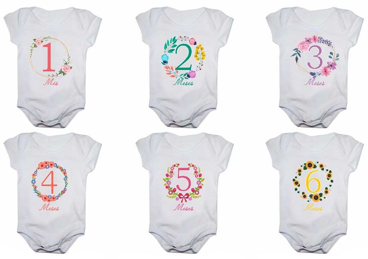 Kit body bebê mesversario manga curta flores 12 bodies 1 a 12 meses
