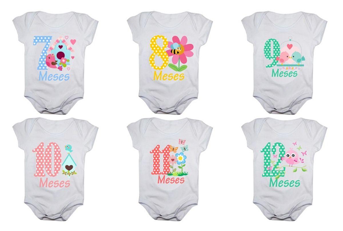 Kit body bebê mesversario manga curta jardim encantado 12 bodies 1 a 12 meses
