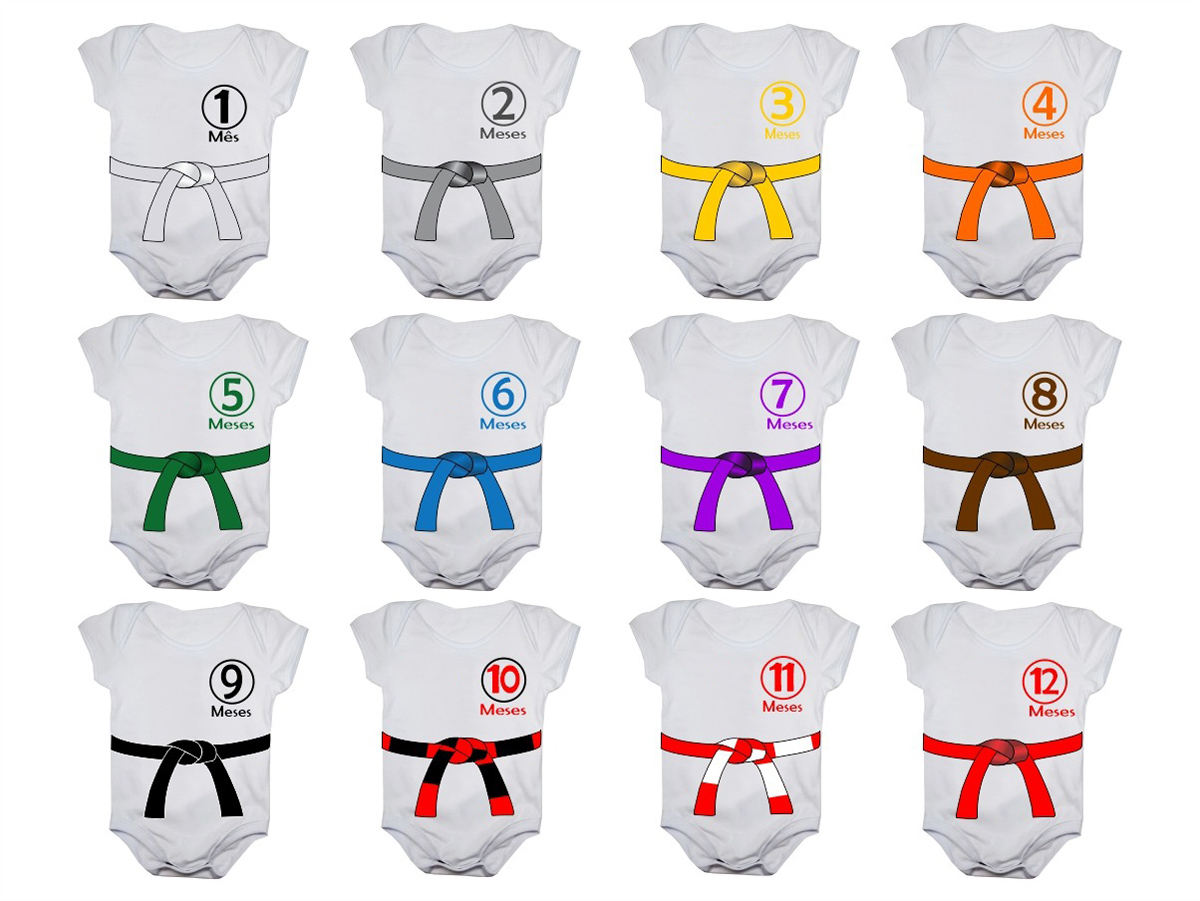 Kit body bebê mesversario manga curta Jiu Jitsu faixas 12 bodies 1 a 12 meses