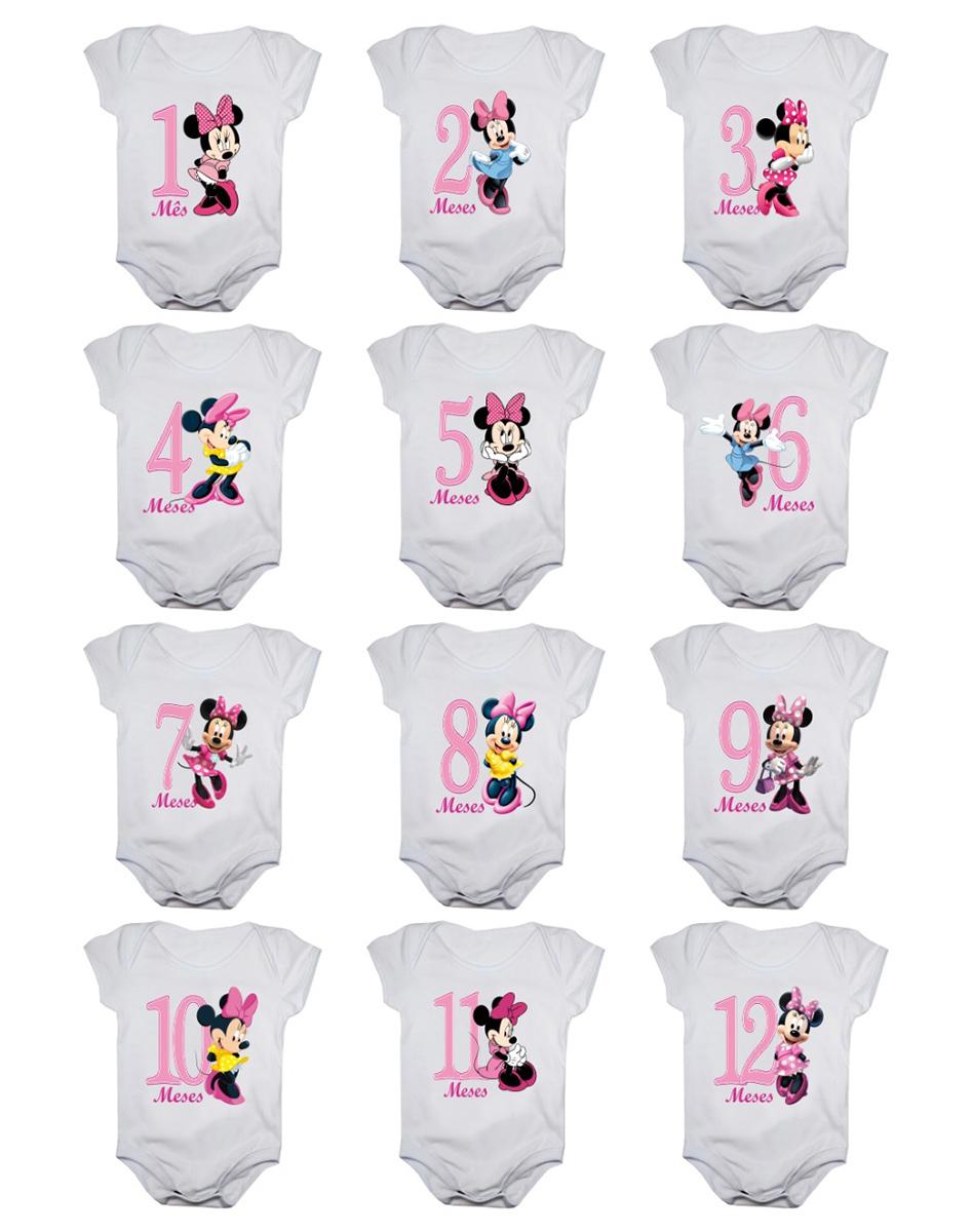 Kit Body Bebê Mesversario Manga Curta Minnie 12 Bodies 1 a 12 Meses