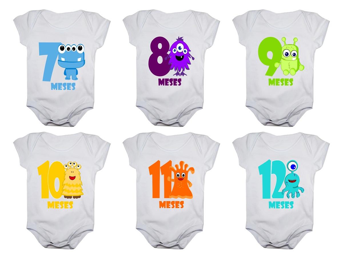 Kit Body Bebê Mesversario Manga Curta Monstrinhos 12 Bodies 1 a 12 Meses