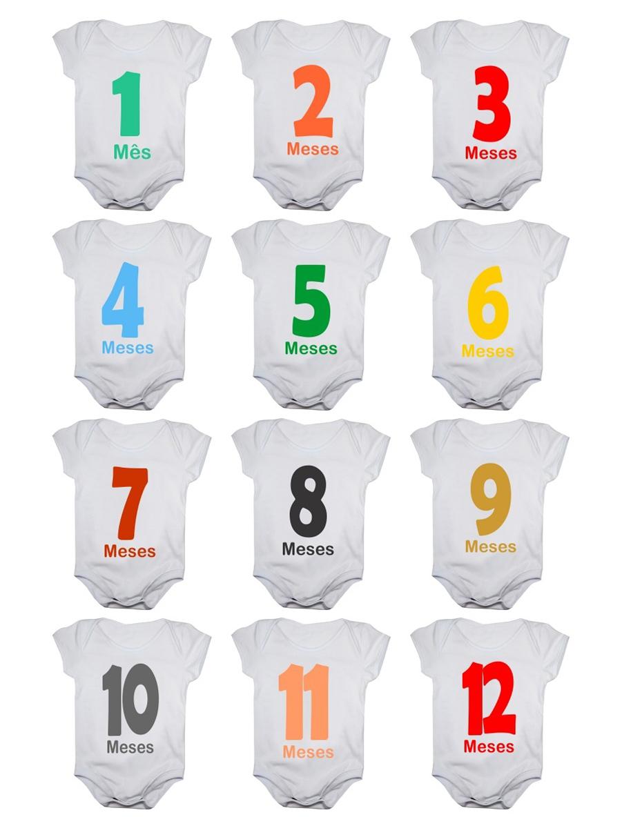 Kit Body Bebê Mesversario Manga Curta Números Coloridos 12 Bodies 1 a 12 Meses