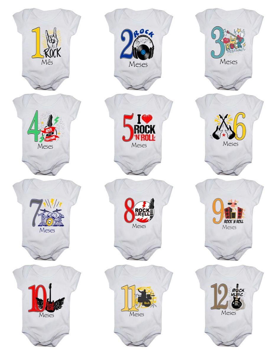 Kit body bebê mesversario manga curta Rock In Roll 12 bodies 1 a 12 meses