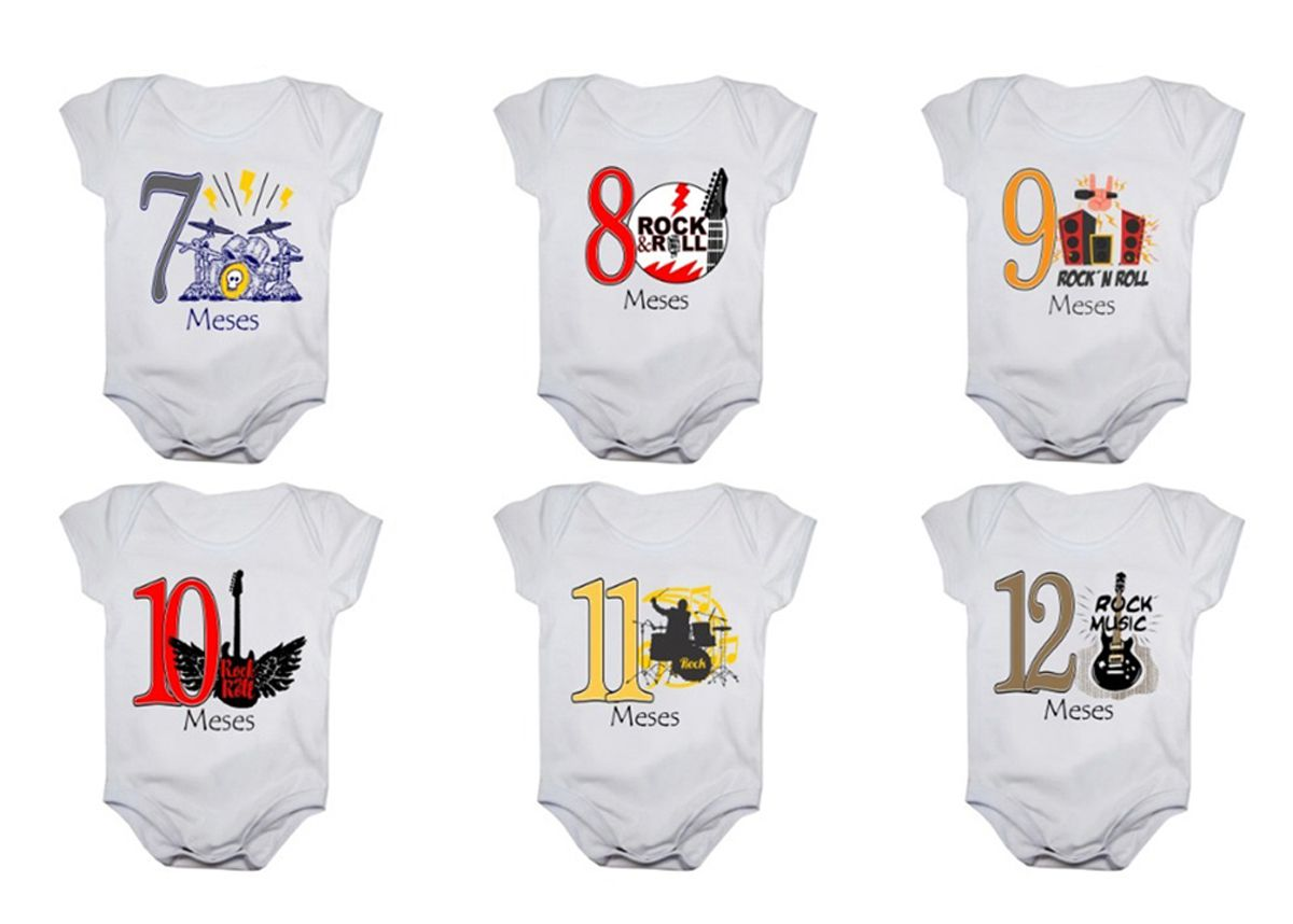 Kit body bebê mesversario manga curta Rock In Roll 12 bodies 1 a 12 meses