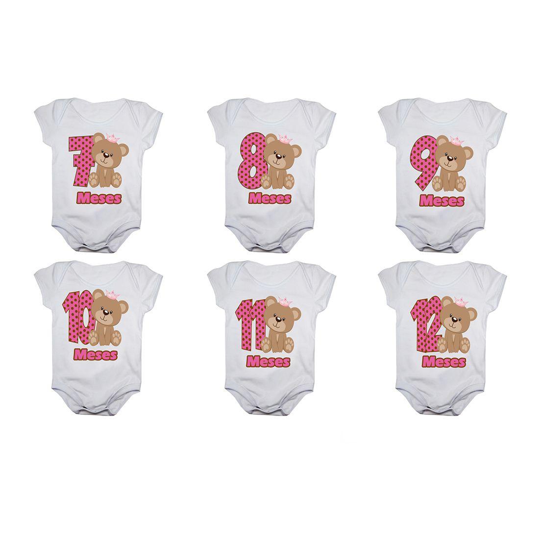 Kit body bebê mesversario manga curta ursinha com coroa 12 bodies 1 a 12 meses