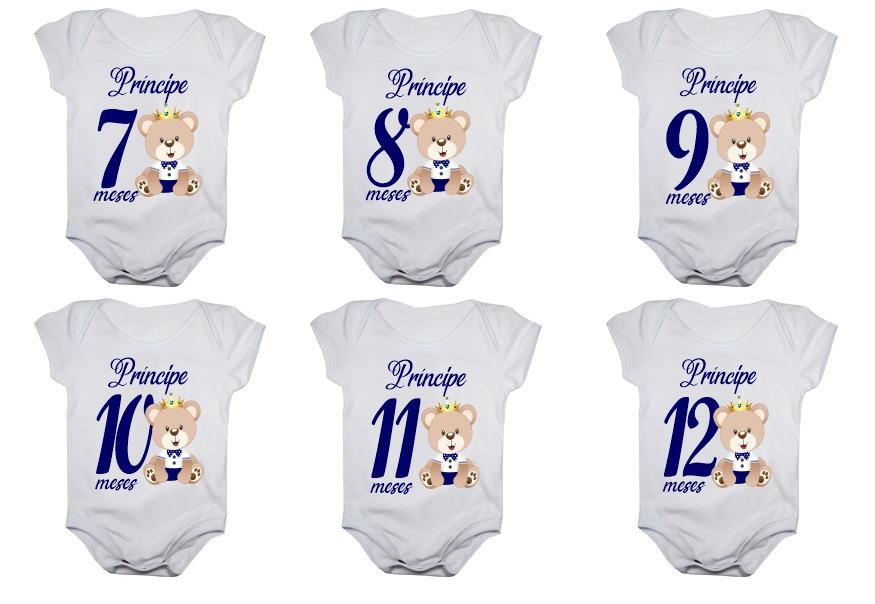 Kit body bebê mesversario manga curta ursinho príncipe 12 bodies 1 a 12 meses