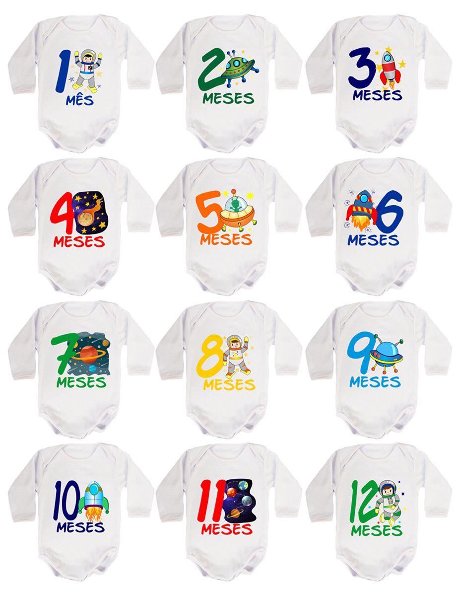 Kit body bebê mesversario manga longa estampa astronauta 12 bodies 1 a 12 meses