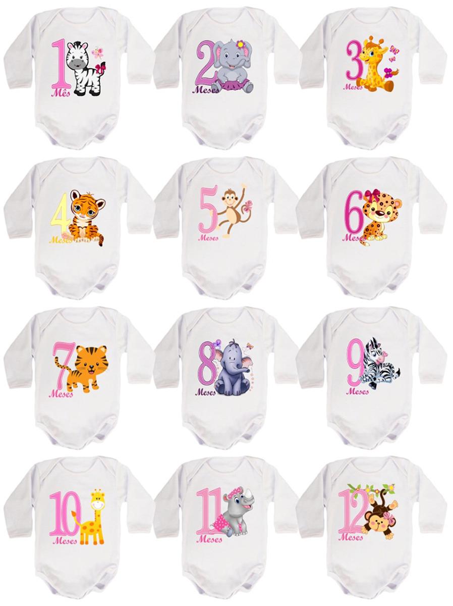 kit Body Bebê Mesversario Manga Longa Safari Bichinhos