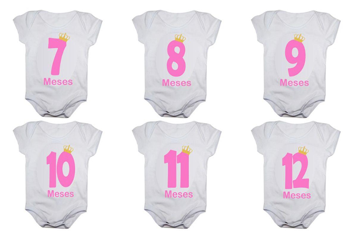 Kit body de bebê mesversario manga curta números rosa 12 bodies 1 a 12 meses