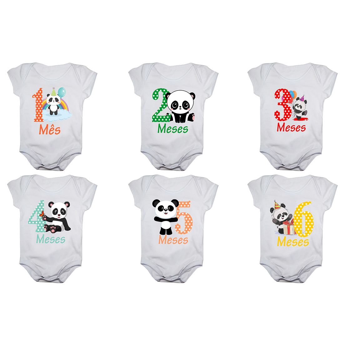 Kit body de bebê mesversario manga curta panda 12 bodies 1 a 12 meses