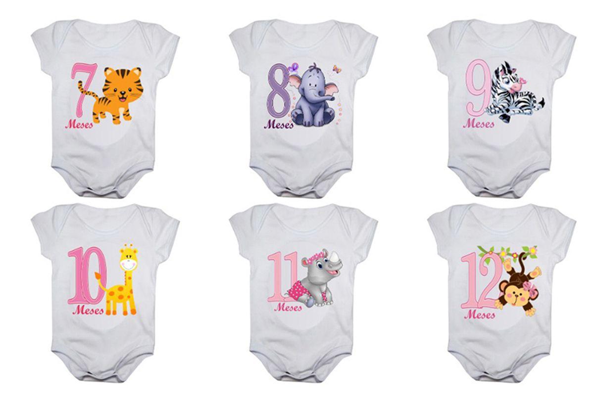 Kit body de bebê mesversario manga curta safari menina 12 bodies 1 a 12 meses