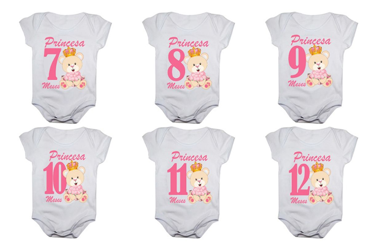 Kit body de bebê mesversario manga curta ursinha princesa 12 bodies 1 a 12 meses
