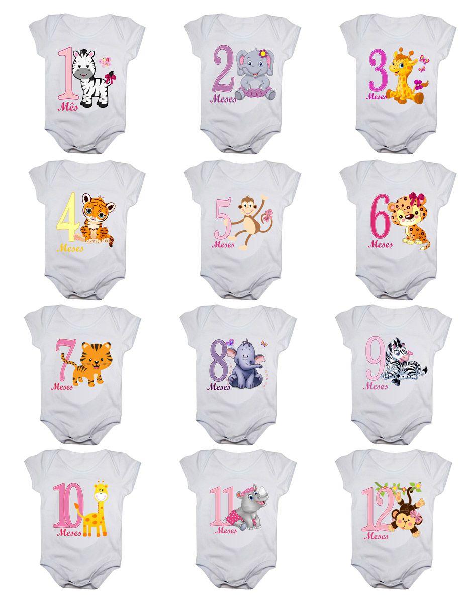 Kit body de bebê mesversario safari menina