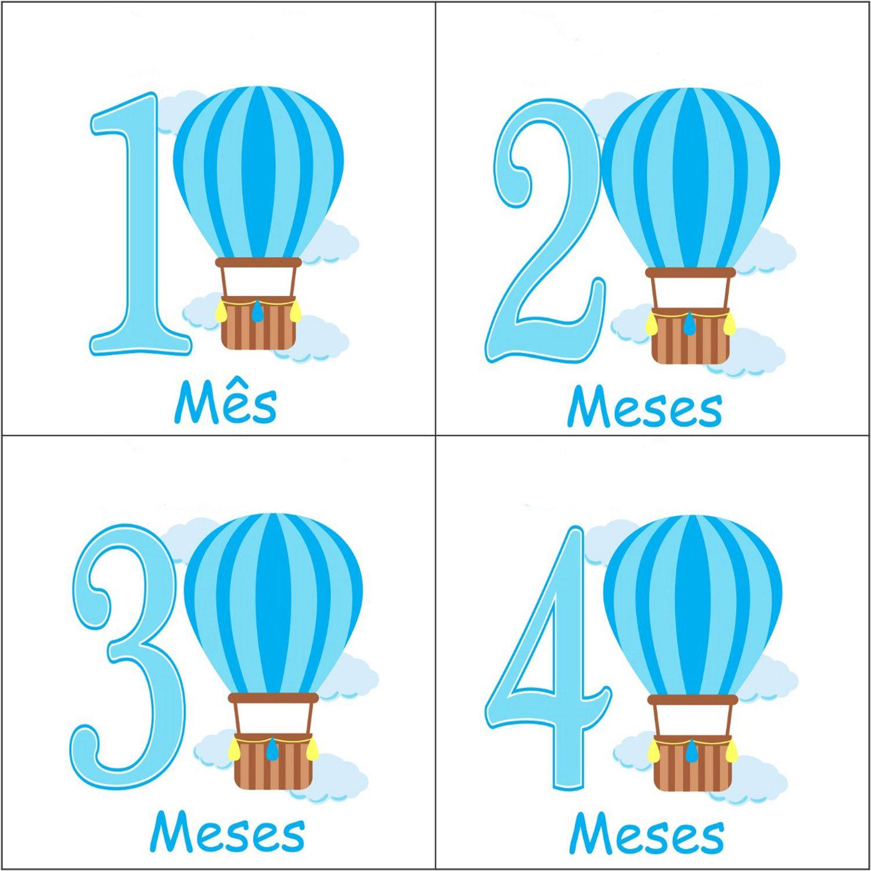 Kit body mesversario balões 12 bodies de bebê com meses