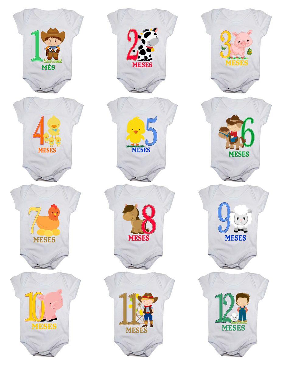 Kit body mesversario fazendinha 12 bodies de bebê