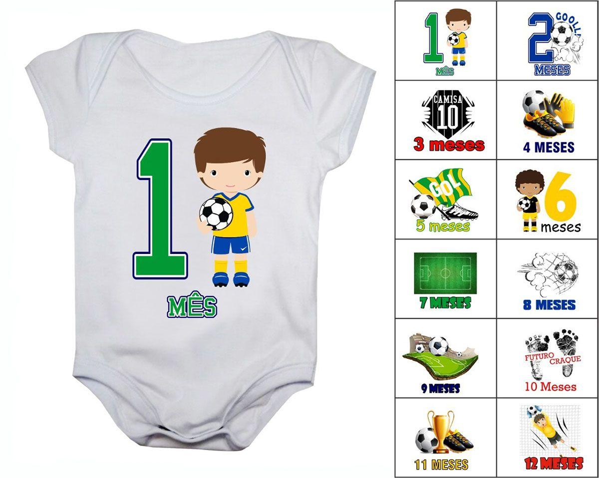 Kit body mesversario futebol 12 bodies de bebê do mês 1 ao 12