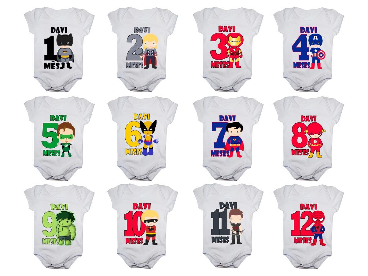 Kit body mesversario heróis personalizado 12 bodies de bebê