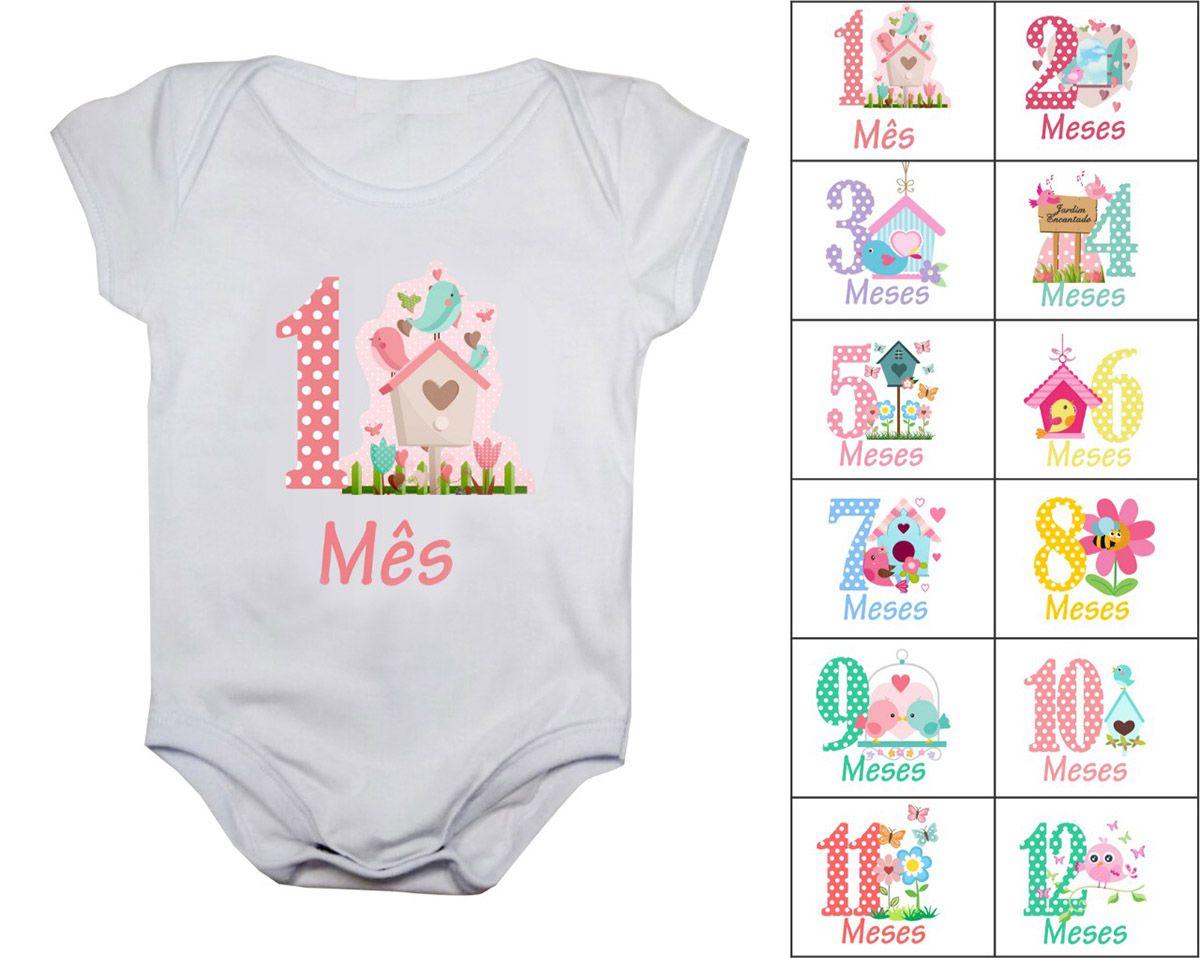 Kit body mesversario encantado 12 bodies de bebê