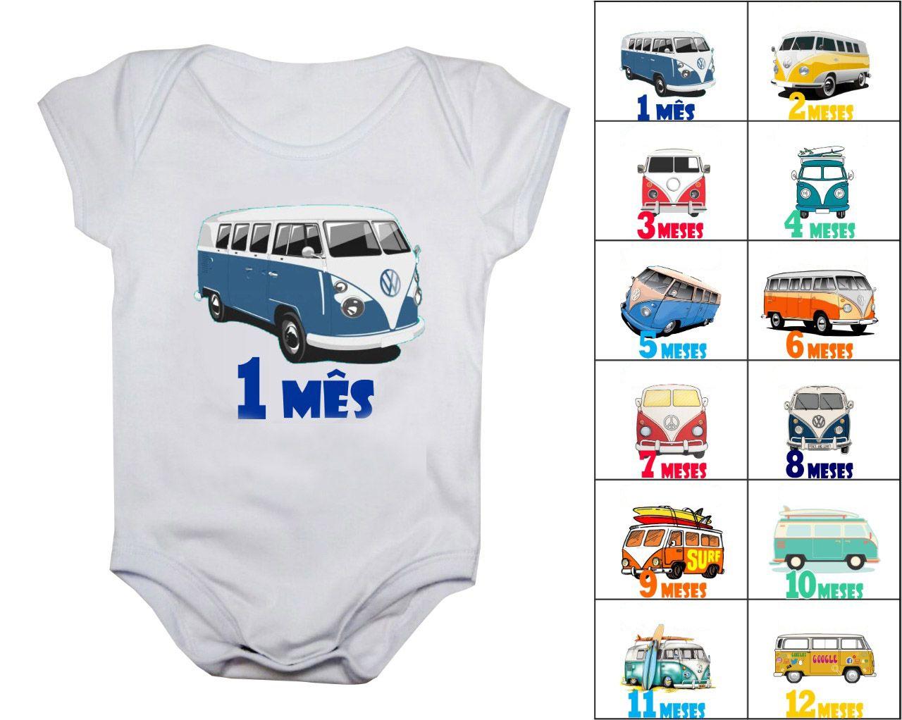 Kit body mesversario kombi 12 bodies de bebê de 1 ao 12 meses