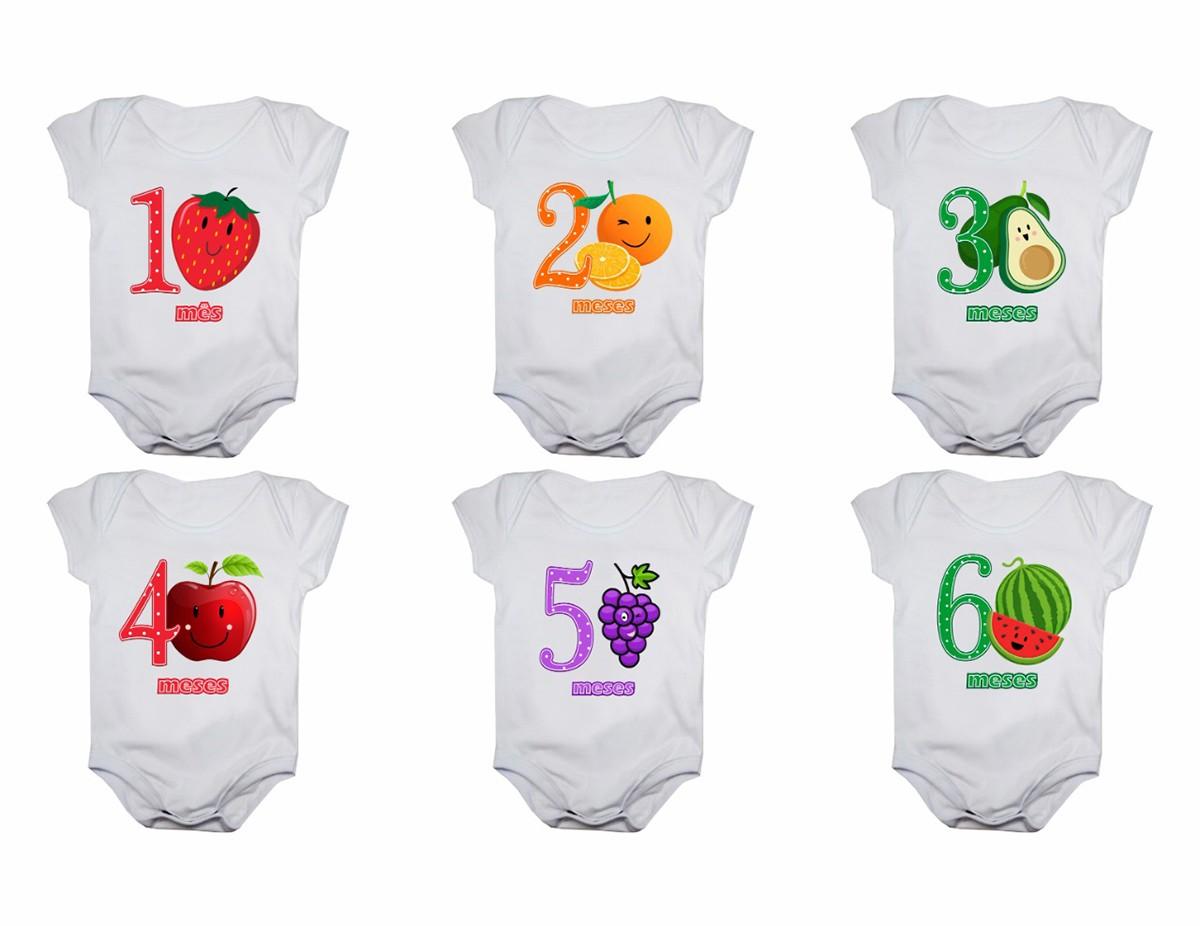 Kit Body Mesversario Manga Curta Frutas 12 Bodies de Bebê De 1 a 12 Meses