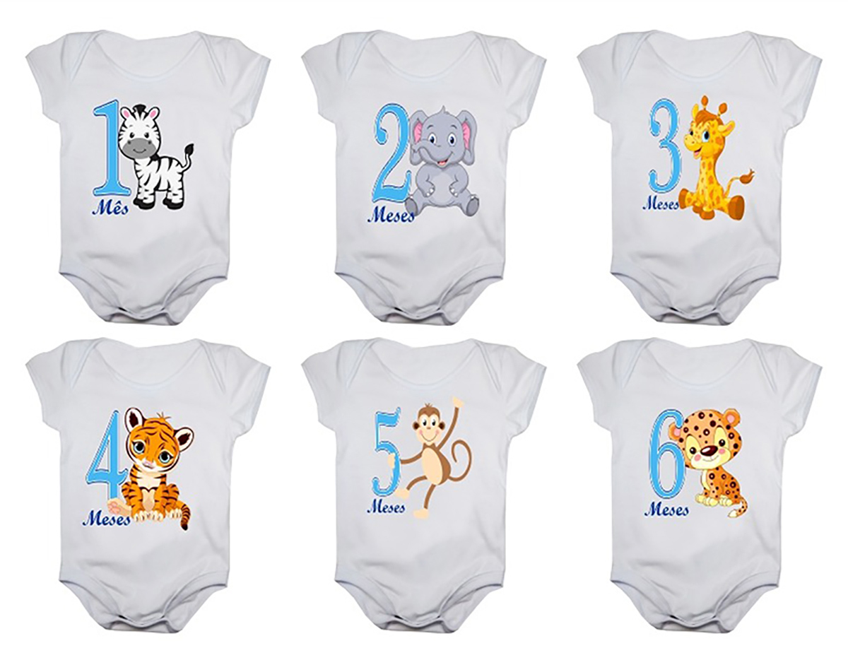 Kit body mesversario manga curta safari 12 bodies de bebê 1 a 12 meses