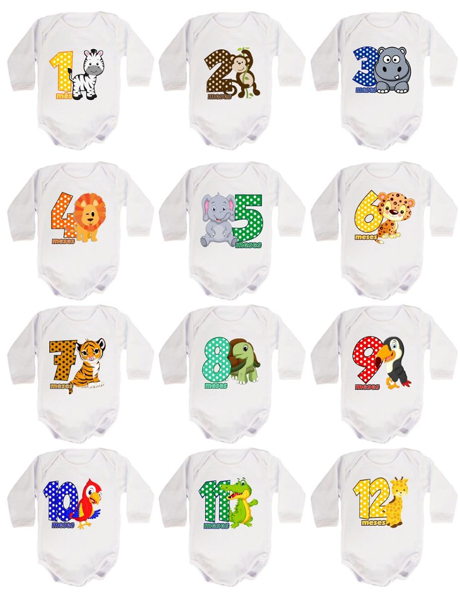 Kit Body Mesversario Manga Longa Safari 12 Bodies de Bebê
