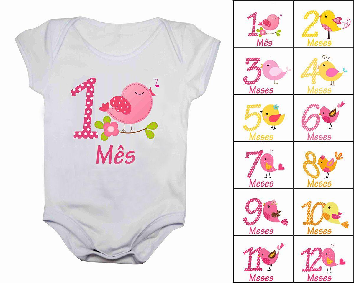 Kit body mesversario passarinhos 12 bodies de bebê