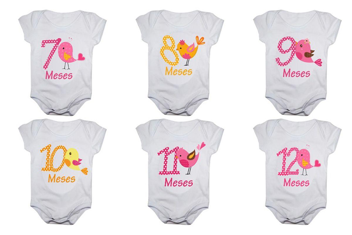 Kit body bebê mesversario manga curta estampa passarinhos 12 bodies 1 a 12 meses