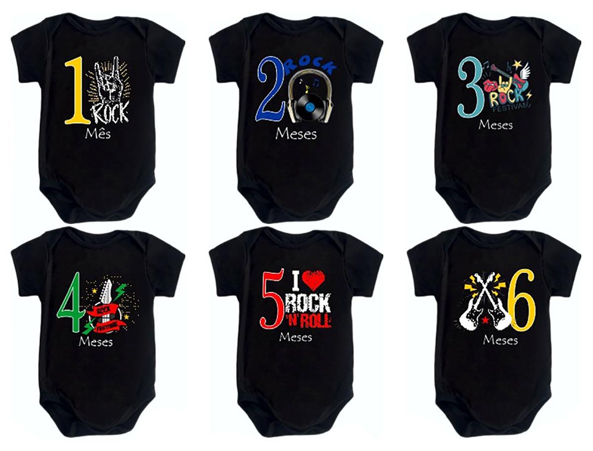 Kit Body Mesversario Manga Curta Rock In Roll 12 Bodies de Bebê 1 a 12 Meses