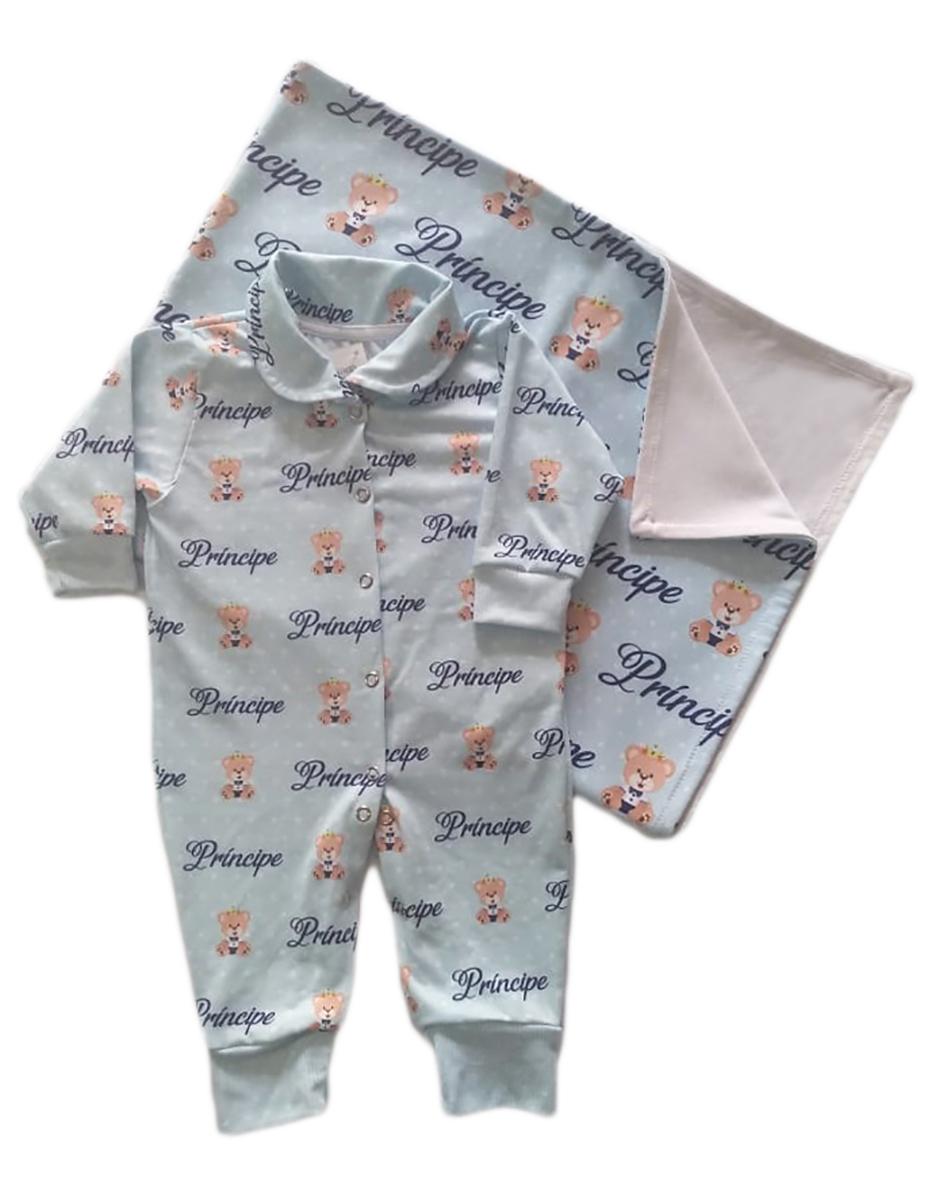 Kit Saída Maternidade Com Macacão e Manta Ursinho Príncipe