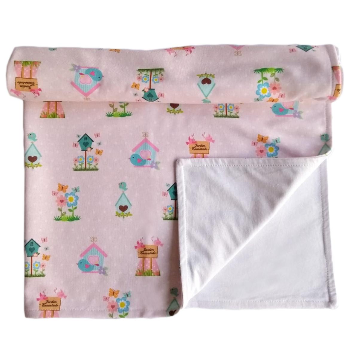 Manta Bebê Jardim Encantado Dupla Face Cobertor Forrado