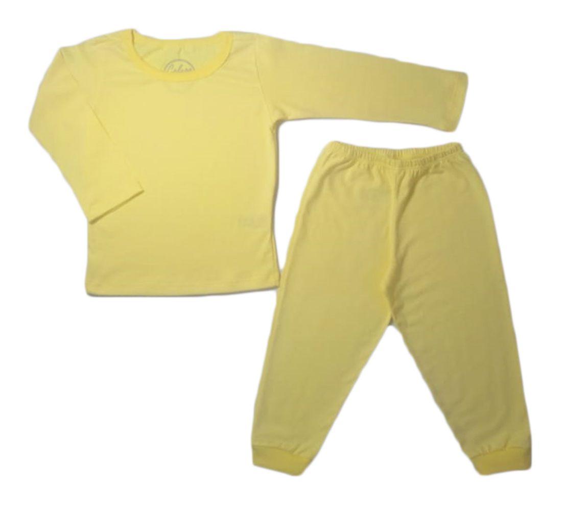 Pijama infantil manga longa de algodão liso unissex