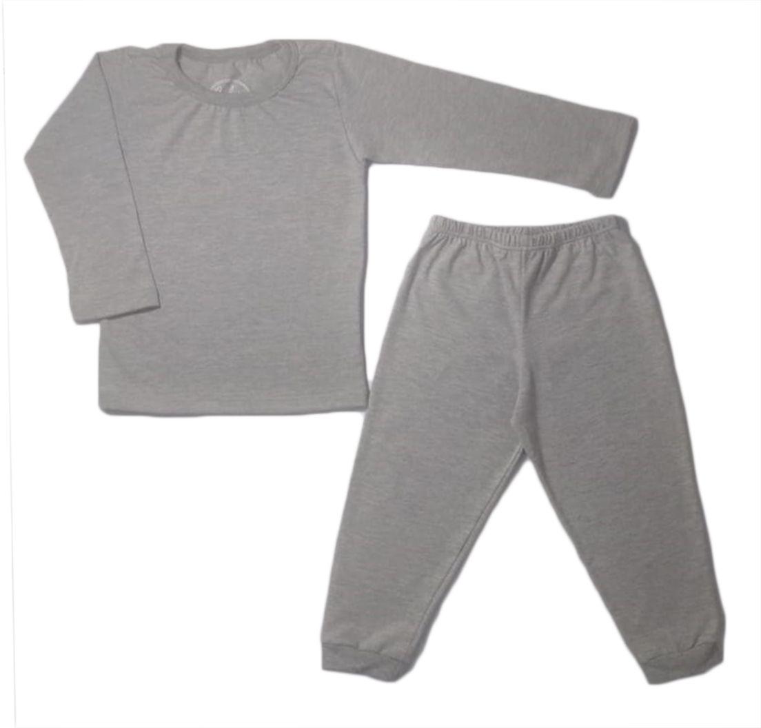 Pijama infantil manga longa liso unissex