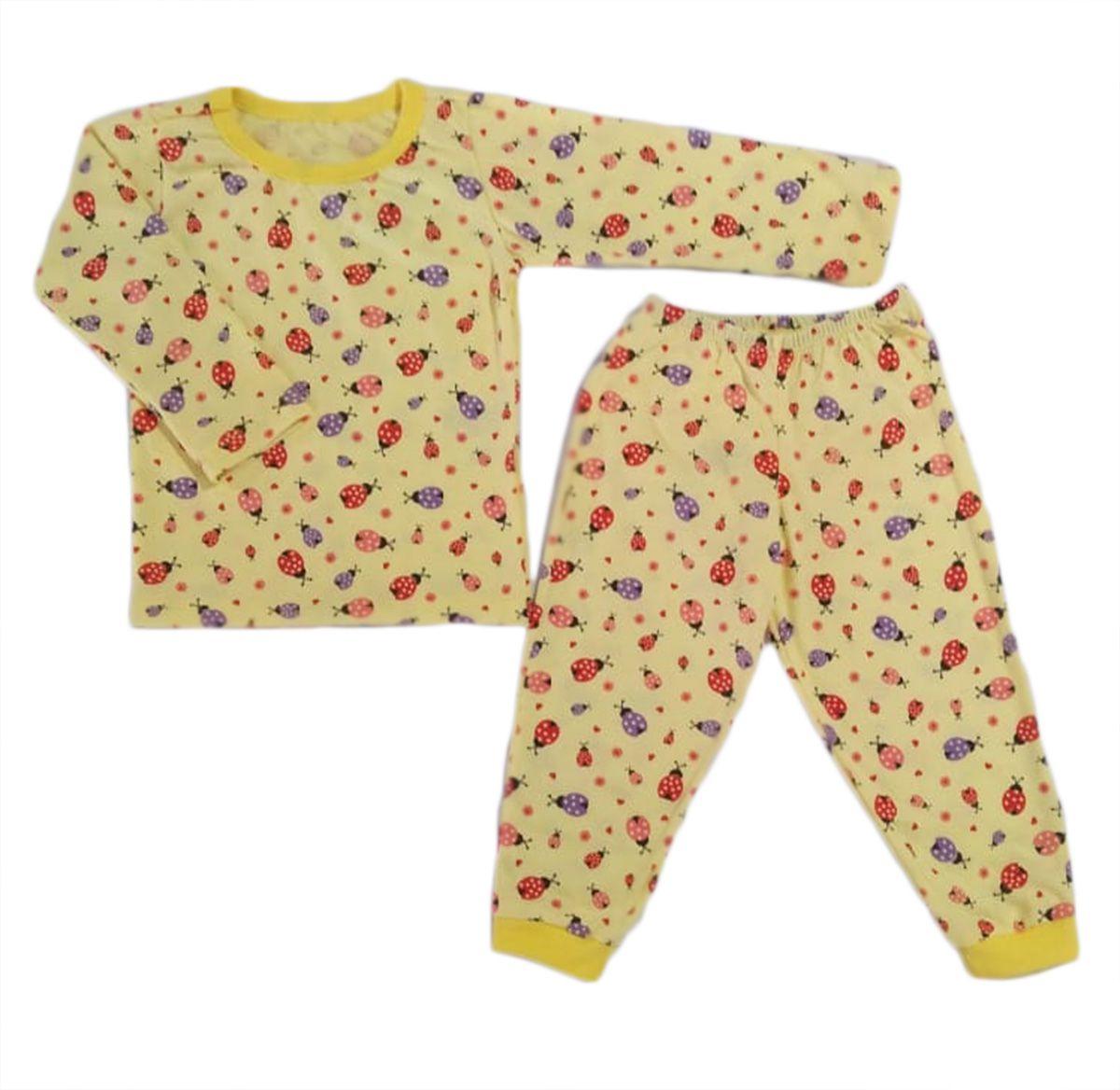 Pijama infantil manga longa de algodão estampa joaninha